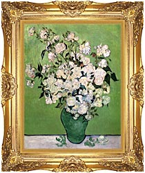 Vincent Van Gogh Vase With Pink Roses II canvas with Majestic Gold frame
