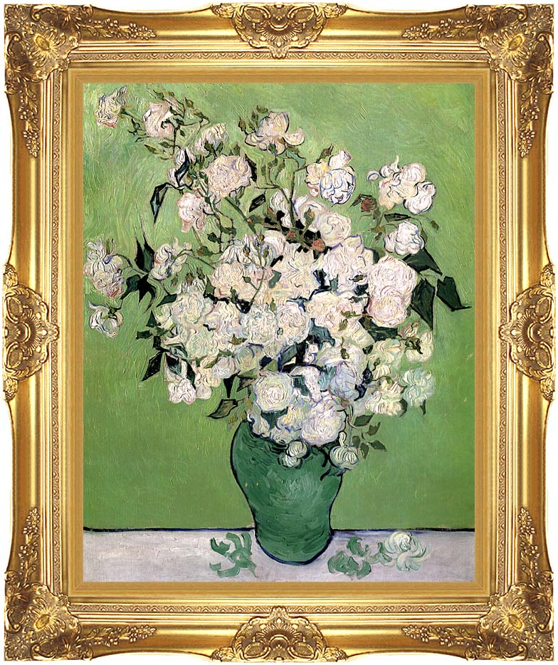 Vincent van Gogh Vase with Pink Roses II with Majestic Gold Frame