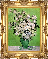Vincent Van Gogh Vase With Pink Roses III canvas with Majestic Gold frame