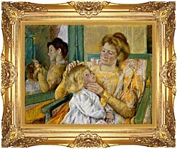 Mary Cassatt Mother Combing Her Childs Hair canvas with Majestic Gold frame