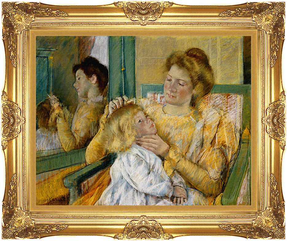 Mary Cassatt Mother Combing Her Child's Hair with Majestic Gold Frame