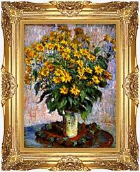 Claude Monet Jerusalem Artichoke Flowers canvas with Majestic Gold frame
