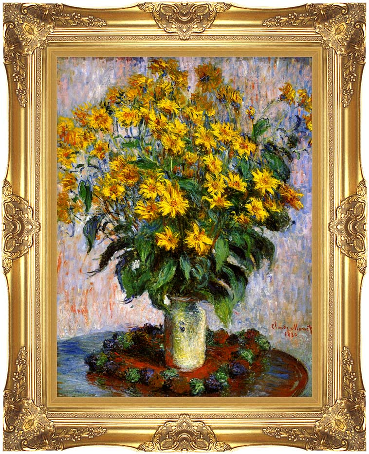 Claude Monet Jerusalem Artichoke Flowers with Majestic Gold Frame