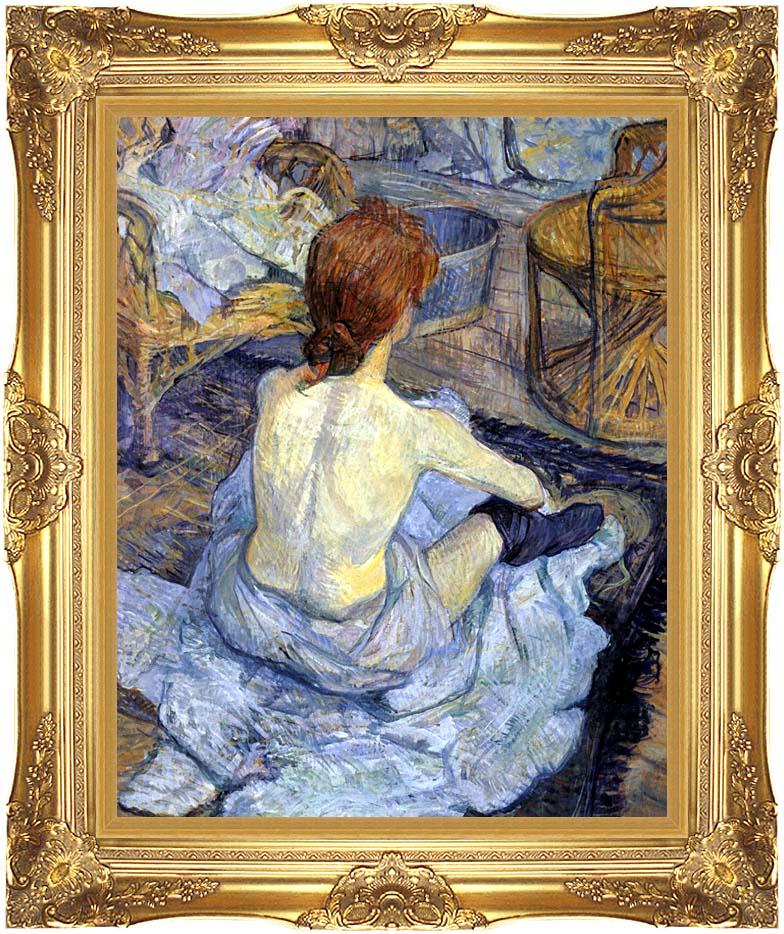 Henri de Toulouse Lautrec Rousse, La Toilette with Majestic Gold Frame