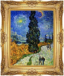 Vincent Van Gogh Road With Men Walking Carriage Cypress Star And Crescent Moon canvas with Majestic Gold frame
