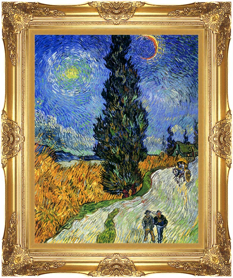 Vincent van Gogh Road with Men Walking, Carriage, Cypress, Star and Crescent Moon with Majestic Gold Frame