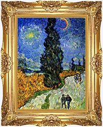 Vincent Van Gogh Road With Men Walking Carriage Cypress Star And Crescent Moon 1890 canvas with Majestic Gold frame