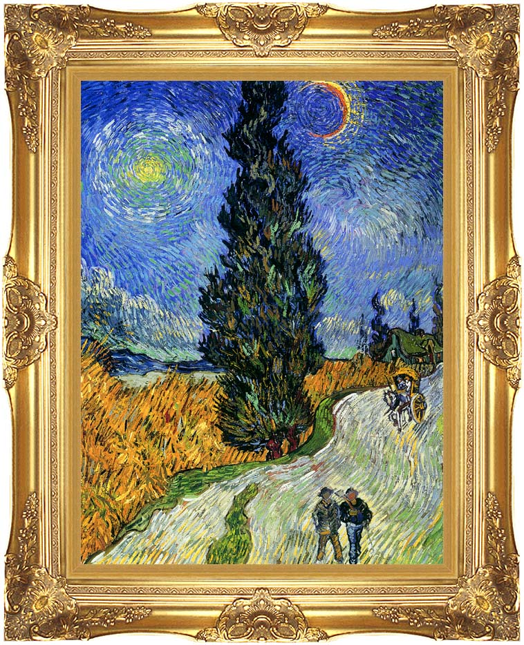 Vincent van Gogh Road with Men Walking, Carriage, Cypress, Star and Crescent Moon 1890 with Majestic Gold Frame