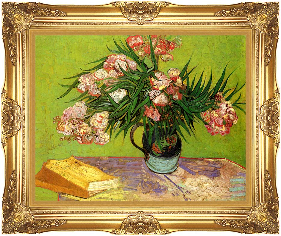 Vincent van Gogh Majolica Jar with Branches of Oleander with Majestic Gold Frame
