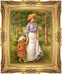 Pierre Auguste Renoir The Promenade canvas with Majestic Gold frame