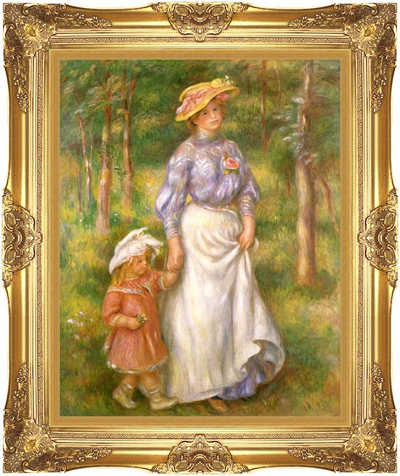Pierre Auguste Renoir The Promenade with Majestic Gold Frame
