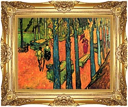 Vincent Van Gogh Les Alyscamps Avenue At Arles canvas with Majestic Gold frame