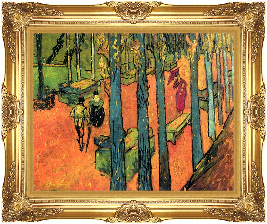 Vincent van Gogh Les Alyscamps, Avenue at Arles with Majestic Gold Frame