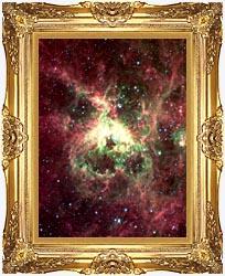 Courtesy Nasa Jpl Caltech 30 Doradus Newborn Stars Of Tarantula Nebula Portrait Detail canvas with Majestic Gold frame