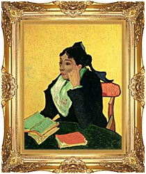 Vincent Van Gogh Madame Ginoux With Books canvas with Majestic Gold frame
