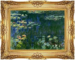 Claude Monet Green Reflections I Left Detail canvas with Majestic Gold frame