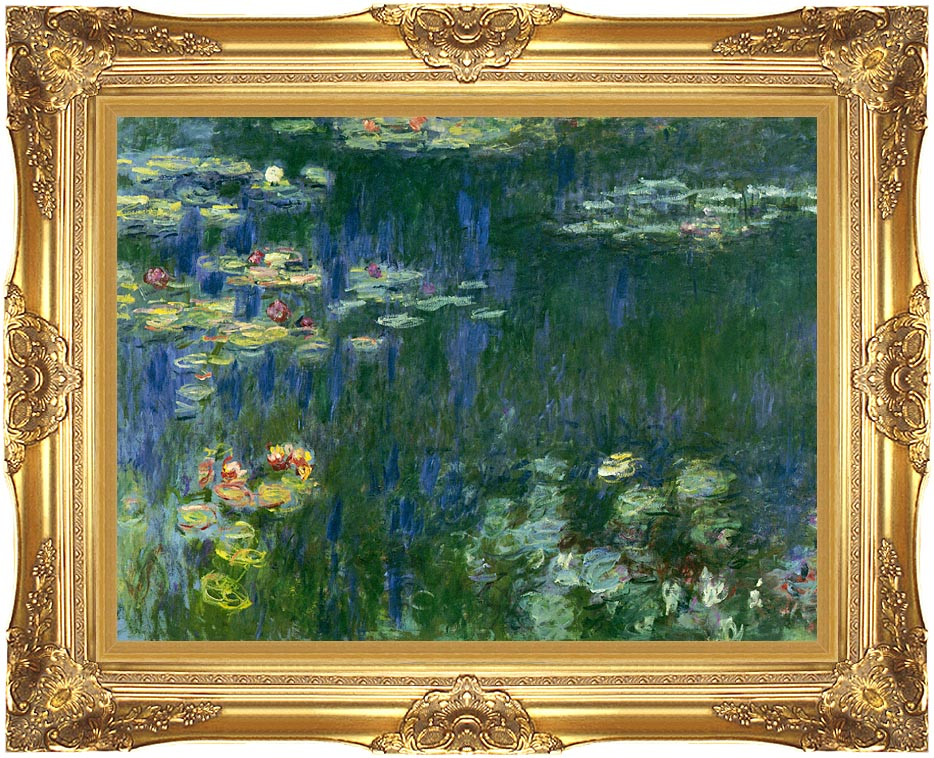 Claude Monet Green Reflections I (left detail) with Majestic Gold Frame