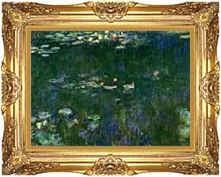 Claude Monet Green Reflections II Center Detail canvas with Majestic Gold frame