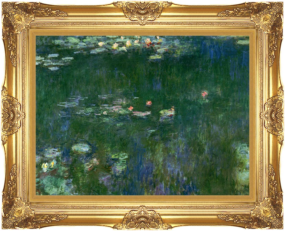 Claude Monet Green Reflections II (center detail) with Majestic Gold Frame
