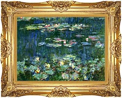 Claude Monet Green Reflections III Right Detail canvas with Majestic Gold frame