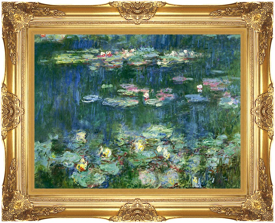 Claude Monet Green Reflections III (right detail) with Majestic Gold Frame