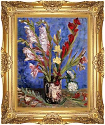 Vincent Van Gogh Vase With Gladioli canvas with Majestic Gold frame