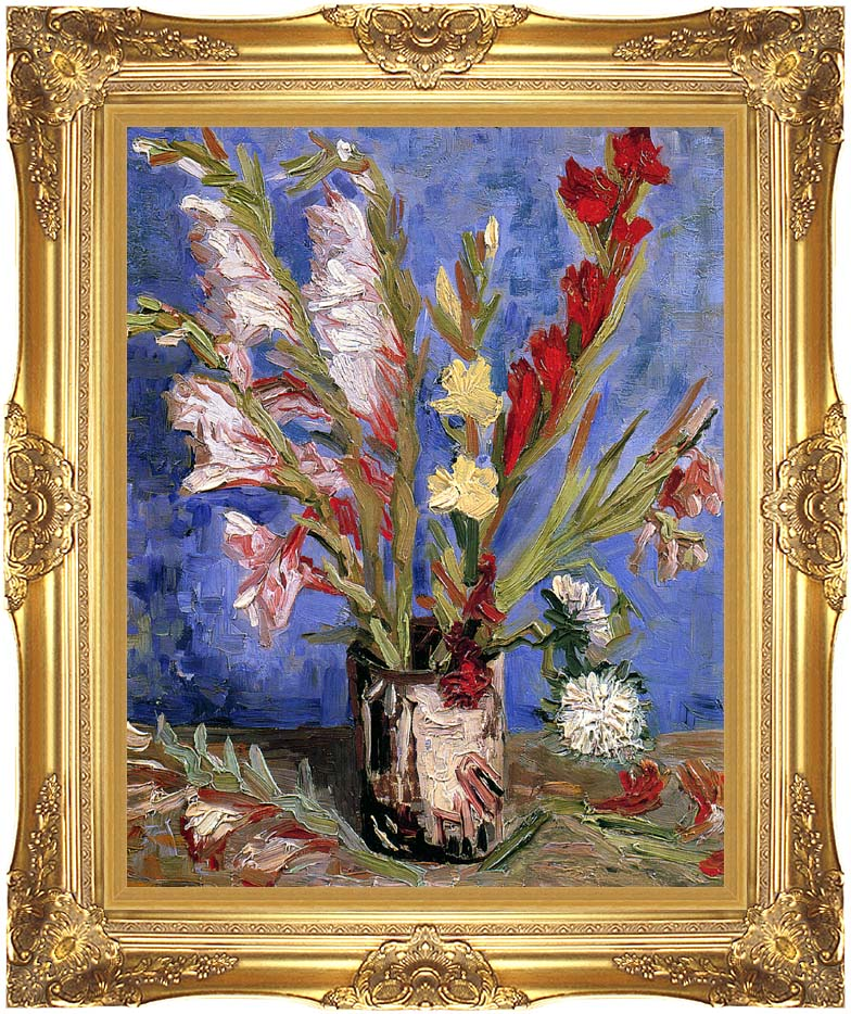 Vincent van Gogh Vase with Gladioli with Majestic Gold Frame