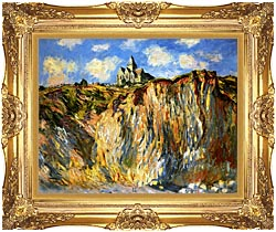 Claude Monet The Church At Varengeville Morning Effect Landscape Detail canvas with Majestic Gold frame