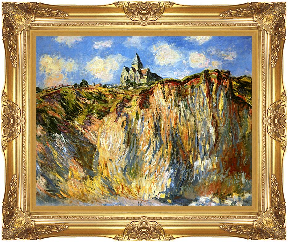 Claude Monet The Church at Varengeville, Morning Effect (landscape detail) with Majestic Gold Frame
