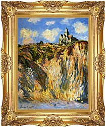 Claude Monet The Church At Varengeville Morning Effect Portrait Detail canvas with Majestic Gold frame