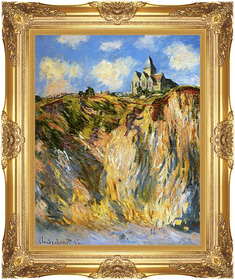 Claude Monet The Church at Varengeville, Morning Effect (portrait detail) with Majestic Gold Frame