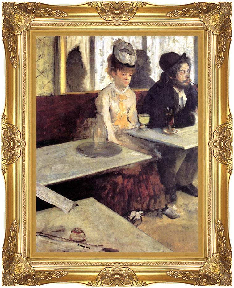 Edgar Degas The Absinthe Drinker in a Cafe with Majestic Gold Frame