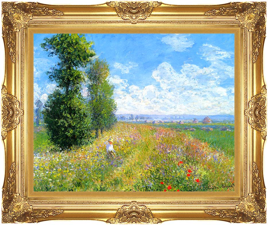 Claude Monet Meadow with Poplars with Majestic Gold Frame
