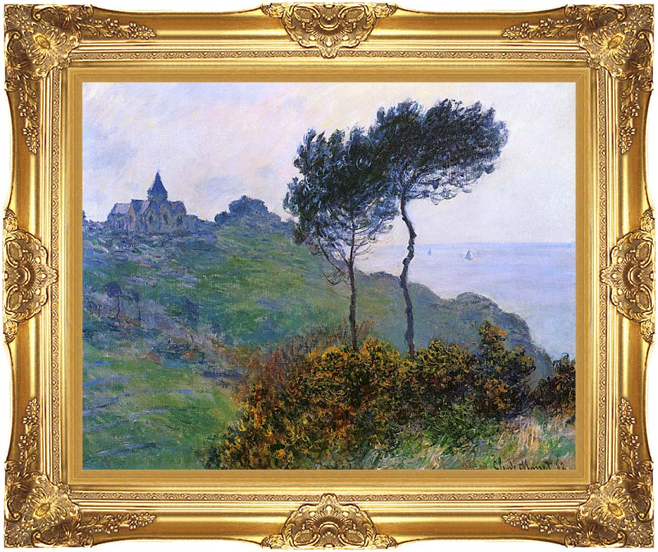 Claude Monet The Church at Varengeville, Grey Weather with Majestic Gold Frame