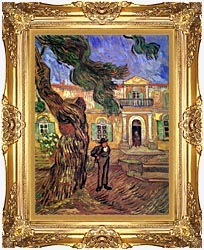 Vincent Van Gogh Pine Tree And Figure In Front Of The Saint Paul Hospital canvas with Majestic Gold frame