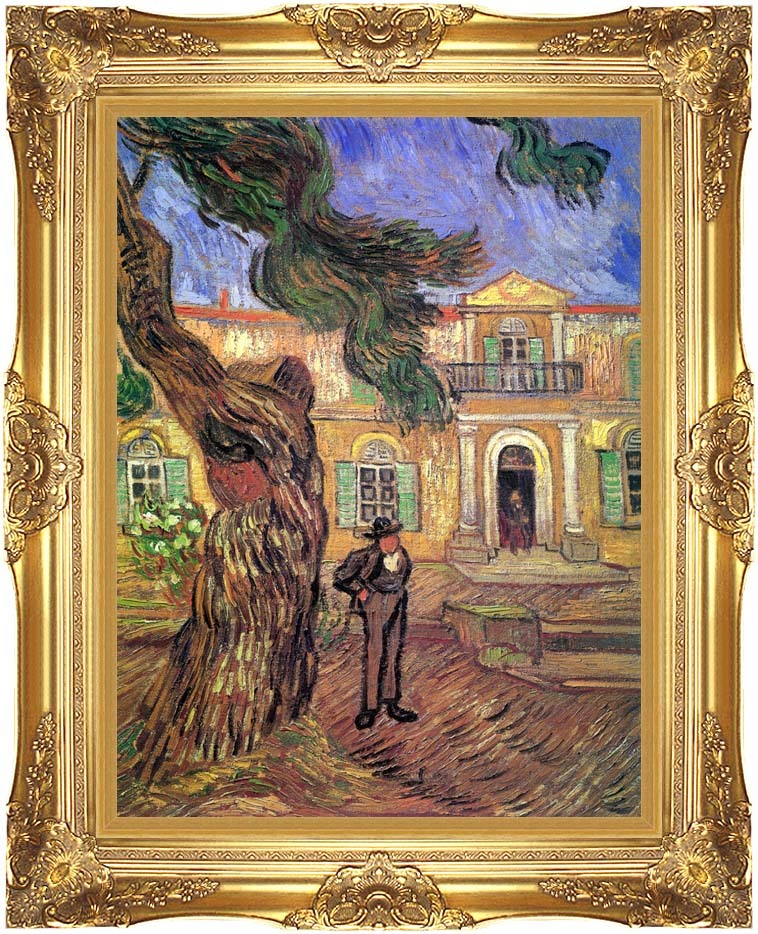 Vincent van Gogh Pine Tree and Figure in Front of the Saint-Paul Hospital with Majestic Gold Frame