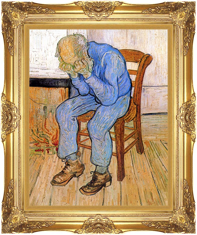 Vincent van Gogh Old Man in Sorrow with Majestic Gold Frame