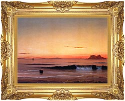 Martin Johnson Heade Twilight Singing Beach Detail canvas with Majestic Gold frame