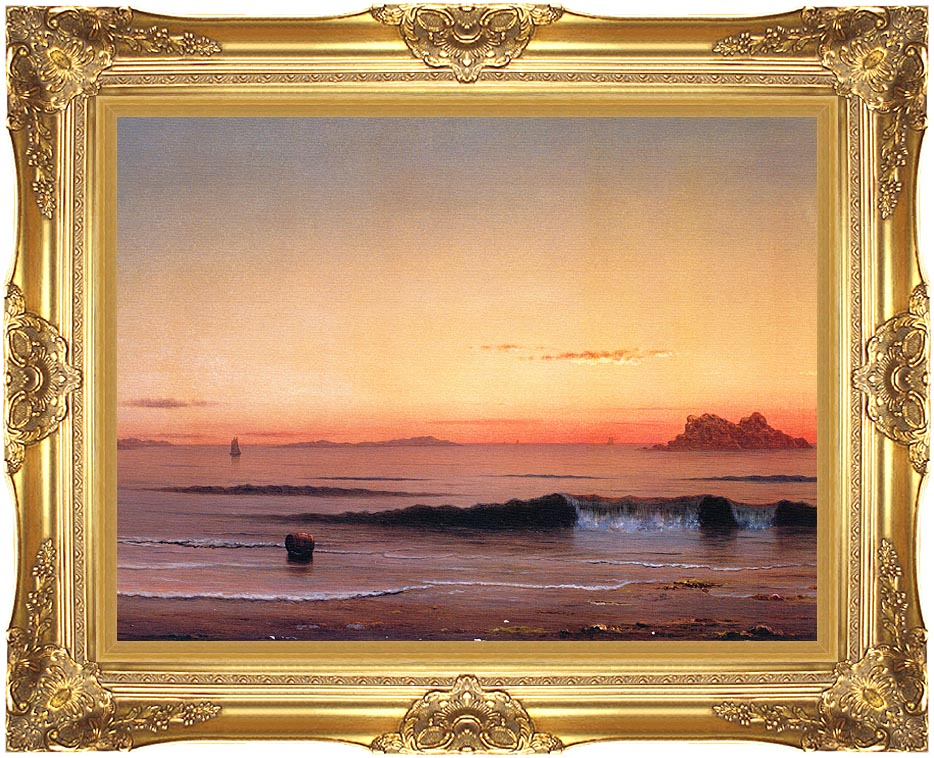 Martin Johnson Heade Twilight, Singing Beach (detail) with Majestic Gold Frame