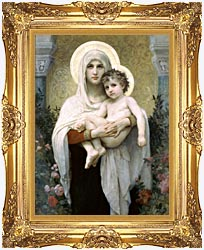 William Bouguereau Madonna Of The Roses canvas with Majestic Gold frame