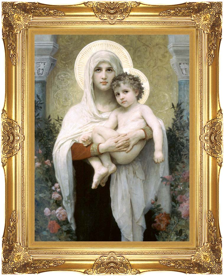 William Bouguereau Madonna of the Roses with Majestic Gold Frame
