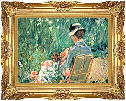 Mary Cassatt Lydia Seated In The Garden With A Dog canvas with Majestic Gold frame