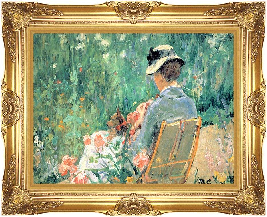 Mary Cassatt Lydia Seated in the Garden with a Dog with Majestic Gold Frame