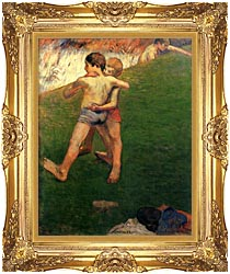 Paul Gauguin Boys Wrestling canvas with Majestic Gold frame