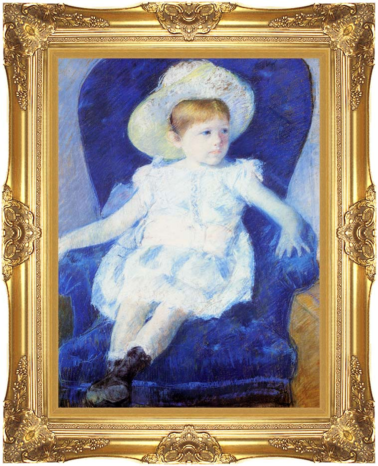 Mary Cassatt Elsie in a Blue Chair with Majestic Gold Frame