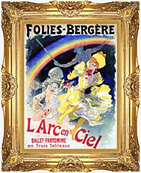 Jules Cheret Folies Bergere Larc En Ciel canvas with Majestic Gold frame