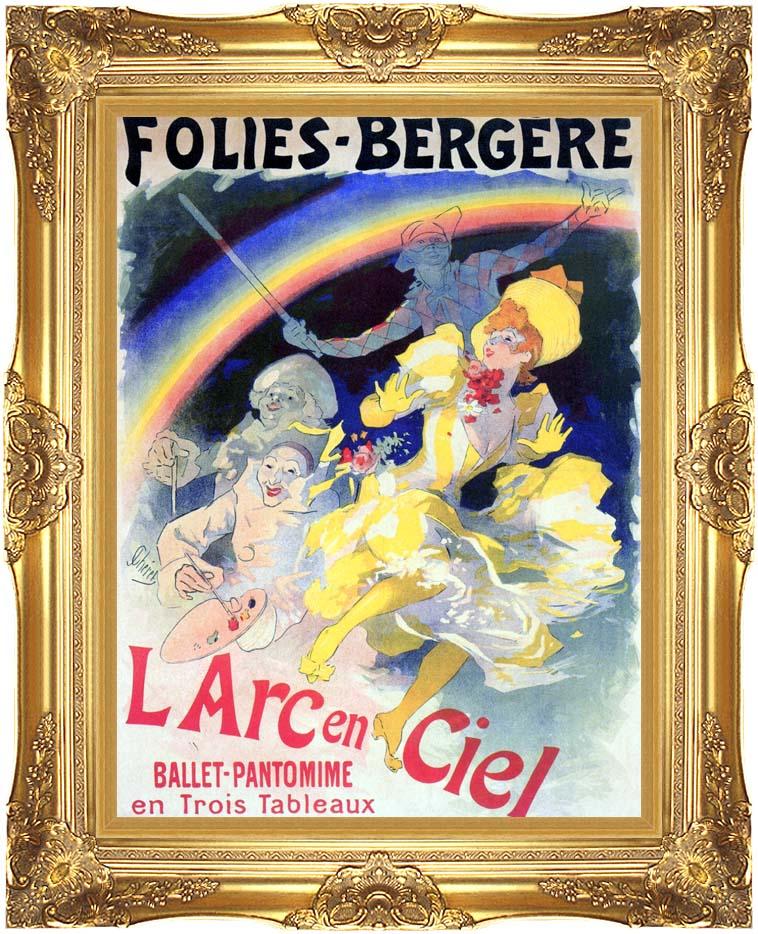 Jules Cheret Folies-Bergere L'Arc-en-Ciel with Majestic Gold Frame