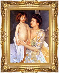 Mary Cassatt Jules Being Dried By His Mother canvas with Majestic Gold frame