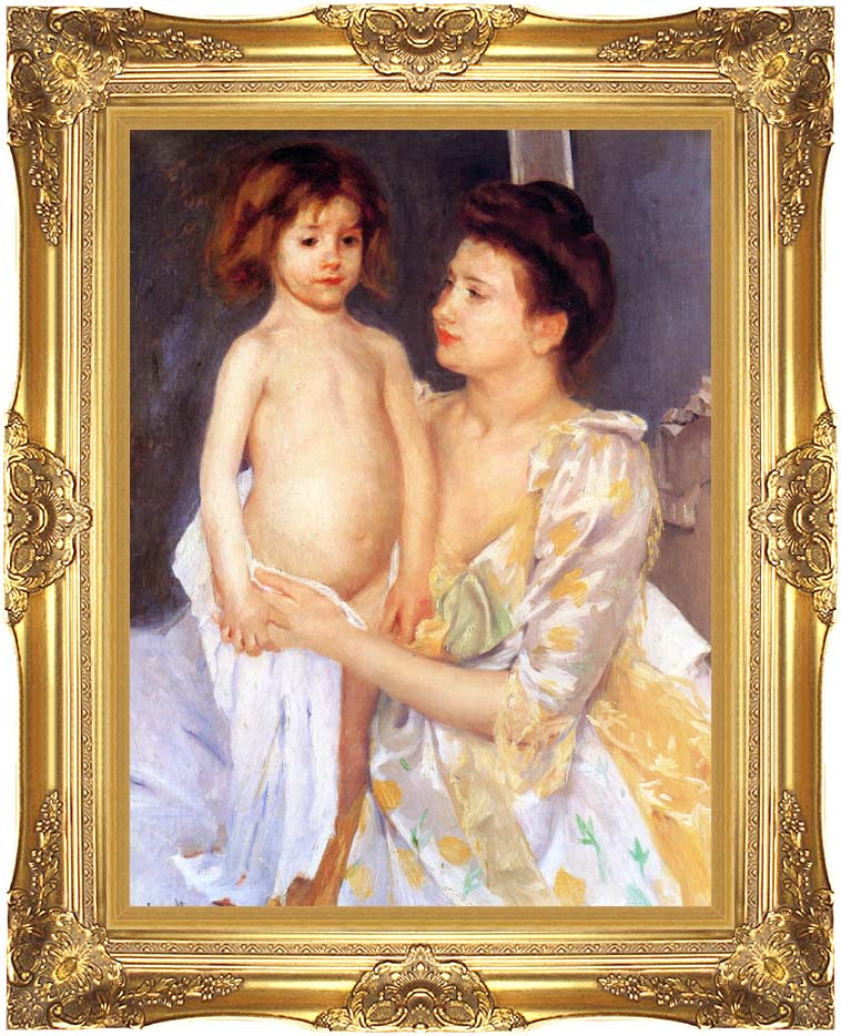 Mary Cassatt Jules Being Dried by his Mother with Majestic Gold Frame