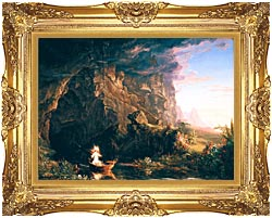 Thomas Cole The Voyage Of Life Childhood canvas with Majestic Gold frame